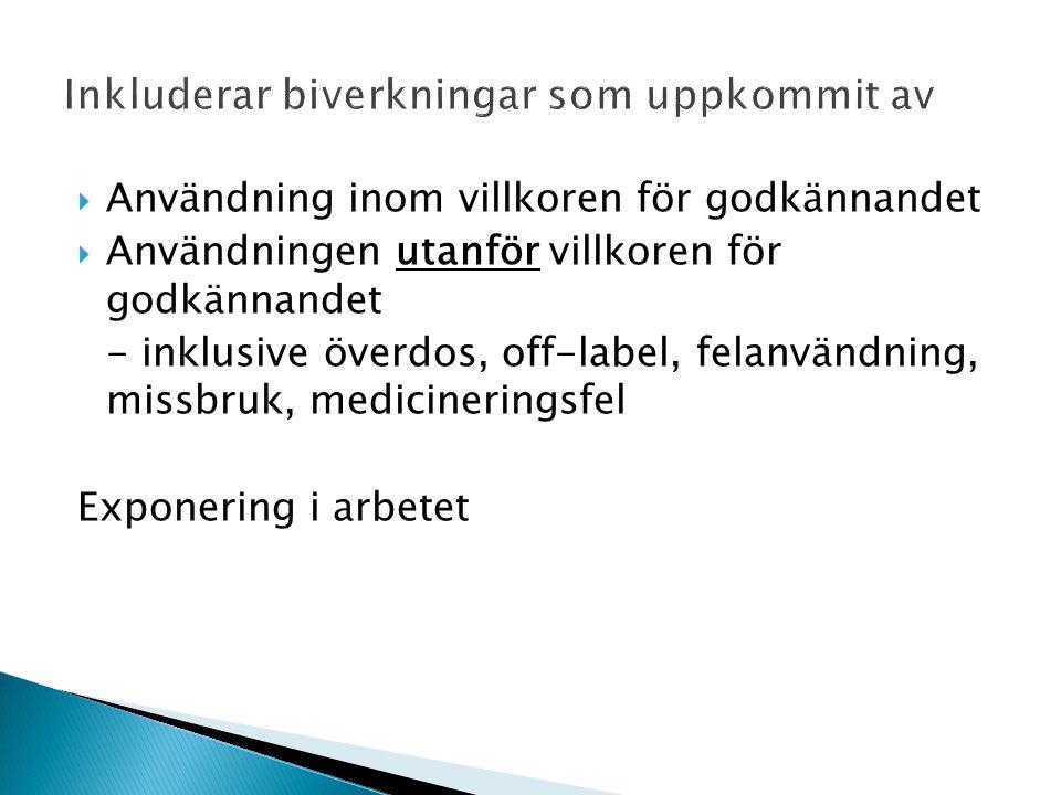  Användning inom villkoren för godkännandet  Användningen utanför villkoren för godkännandet - inklusive överdos, off-label, felanvändning, missbruk, medicineringsfel Exponering i arbetet
