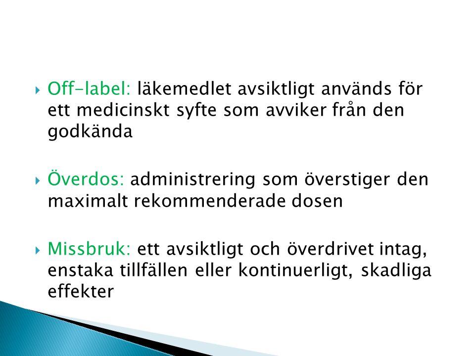  Off-label: läkemedlet avsiktligt används för ett medicinskt syfte som avviker från den godkända  Överdos: administrering som överstiger den maximalt rekommenderade dosen  Missbruk: ett avsiktligt och överdrivet intag, enstaka tillfällen eller kontinuerligt, skadliga effekter