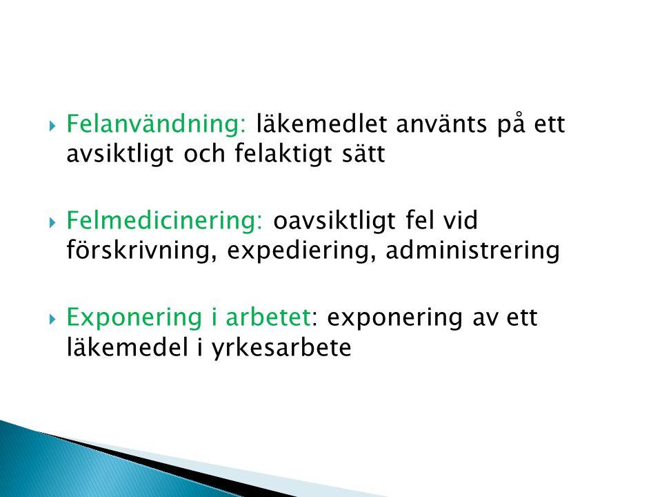  Felanvändning: läkemedlet använts på ett avsiktligt och felaktigt sätt  Felmedicinering: oavsiktligt fel vid förskrivning, expediering, administrering  Exponering i arbetet: exponering av ett läkemedel i yrkesarbete