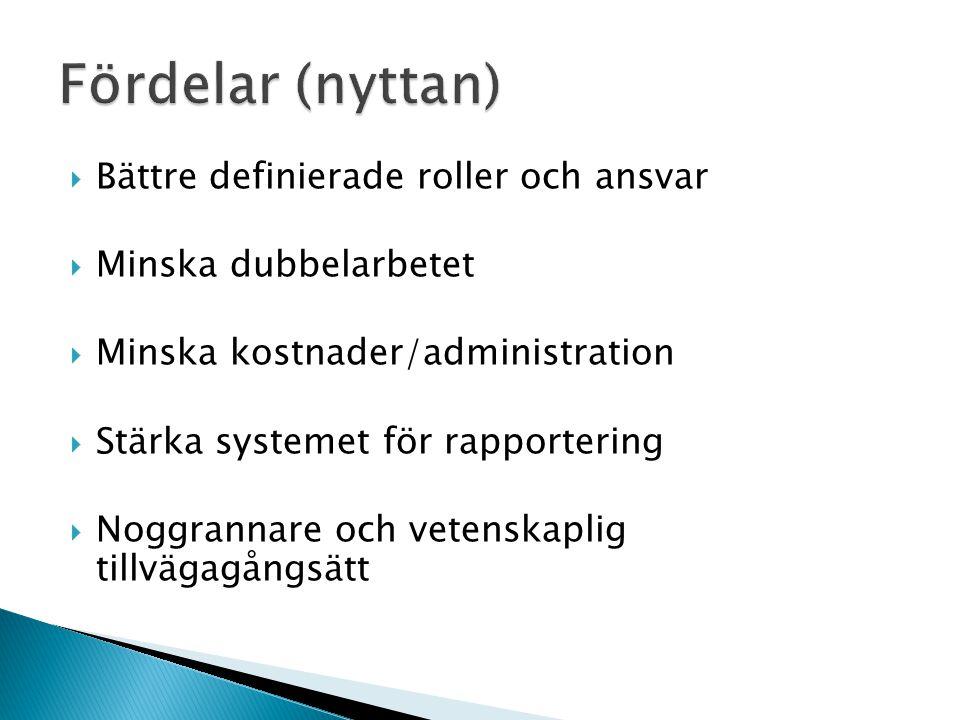  Bättre definierade roller och ansvar  Minska dubbelarbetet  Minska kostnader/administration  Stärka systemet för rapportering  Noggrannare och vetenskaplig tillvägagångsätt
