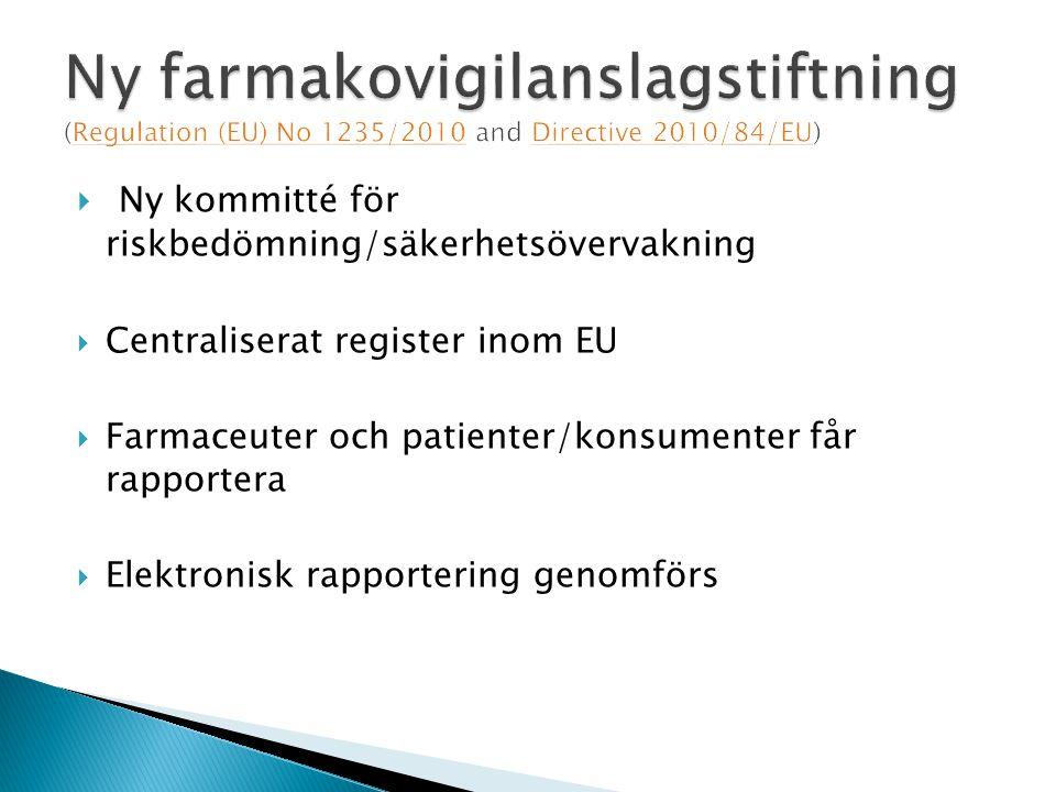  Ny kommitté för riskbedömning/säkerhetsövervakning  Centraliserat register inom EU  Farmaceuter och patienter/konsumenter får rapportera  Elektronisk rapportering genomförs
