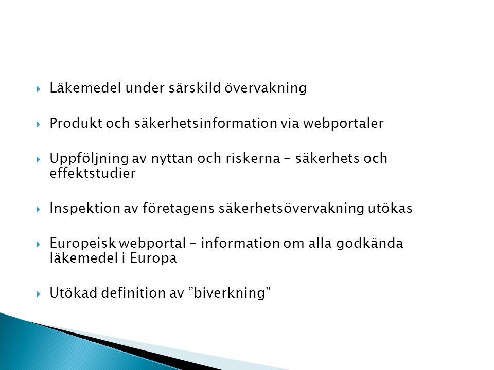 Läkemedel under särskild övervakning  Produkt och säkerhetsinformation via webportaler  Uppföljning av nyttan och riskerna – säkerhets och effektstudier  Inspektion av företagens säkerhetsövervakning utökas  Europeisk webportal – information om alla godkända läkemedel i Europa  Utökad definition av biverkning