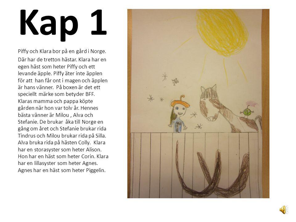 Kap 1 Piffy och Klara bor på en gård i Norge.Där har de tretton hästar.