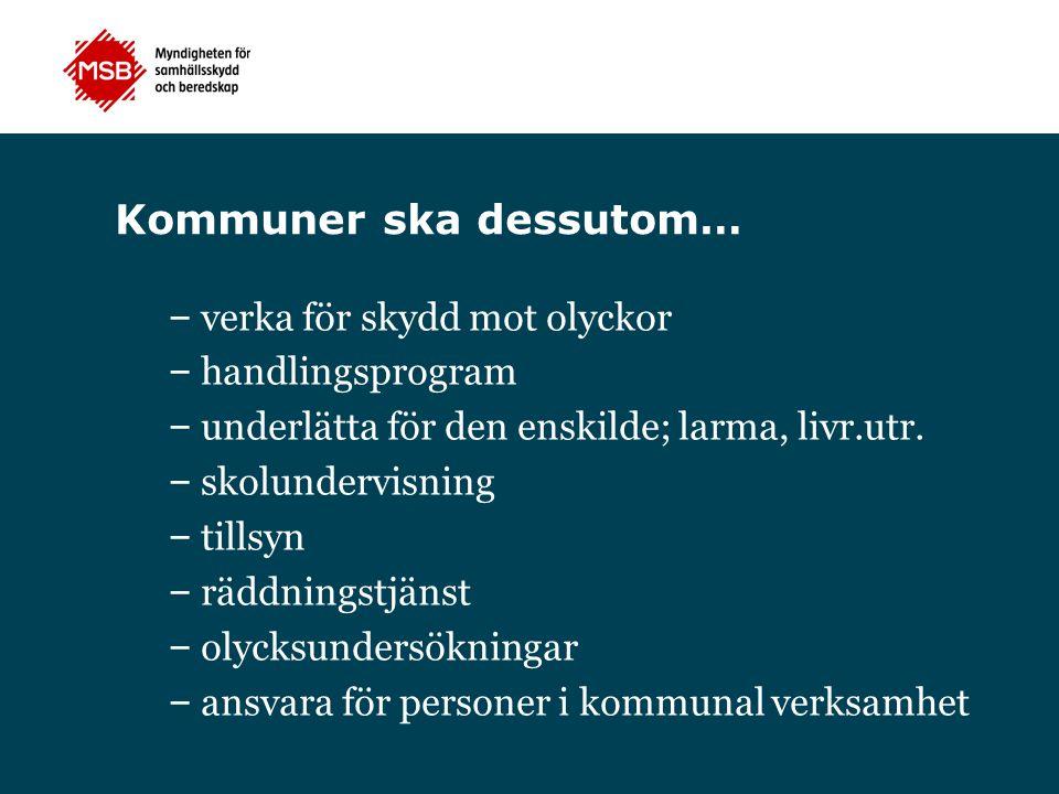 Kommuner ska dessutom… – verka för skydd mot olyckor – handlingsprogram – underlätta för den enskilde; larma, livr.utr. – skolundervisning – tillsyn –
