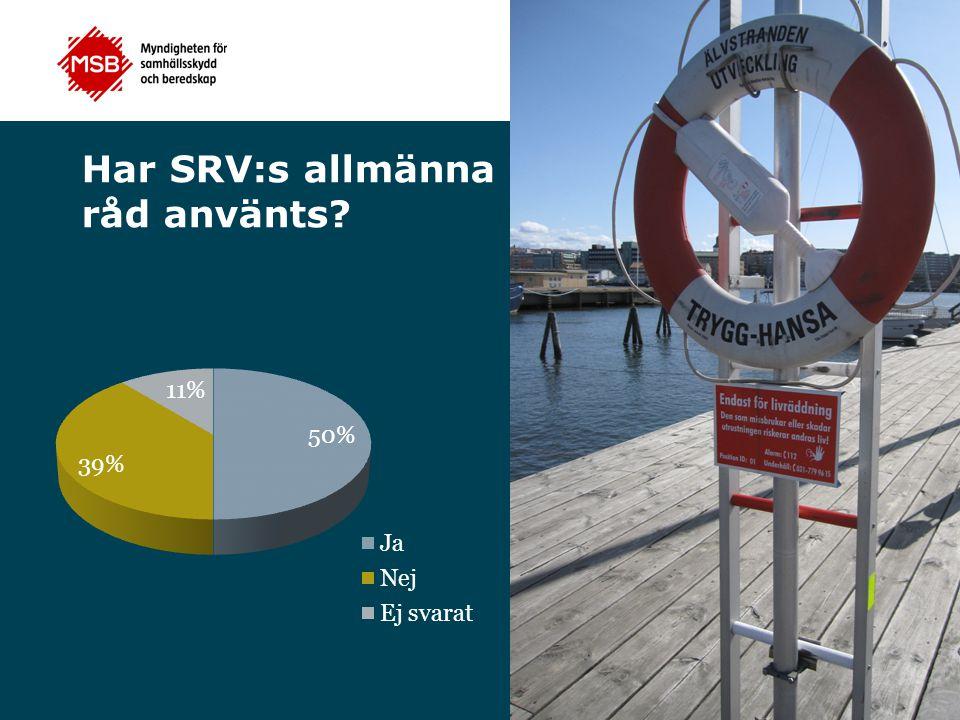 Har SRV:s allmänna råd använts?