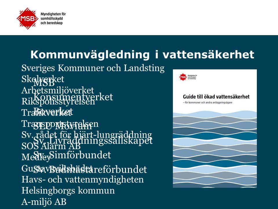 Kommunvägledning i vattensäkerhet MSB Konsumentverket Boverket SLU Movium Sv. Livräddningssällskapet Sv. Simförbundet Sv. Badmästareförbundet Sveriges