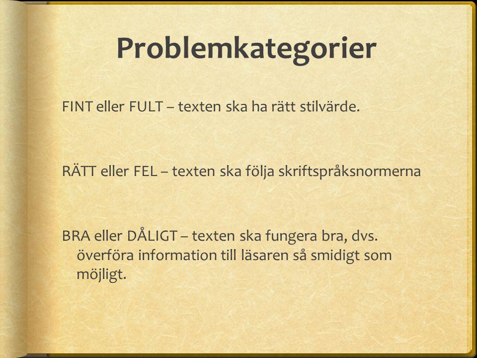 Problemkategorier FINT eller FULT – texten ska ha rätt stilvärde. RÄTT eller FEL – texten ska följa skriftspråksnormerna BRA eller DÅLIGT – texten ska