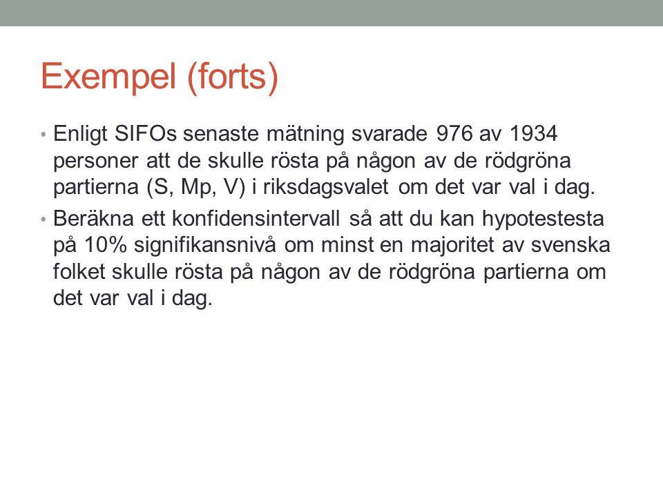 Exempel (forts) • Enligt SIFOs senaste mätning svarade 976 av 1934 personer att de skulle rösta på någon av de rödgröna partierna (S, Mp, V) i riksdag