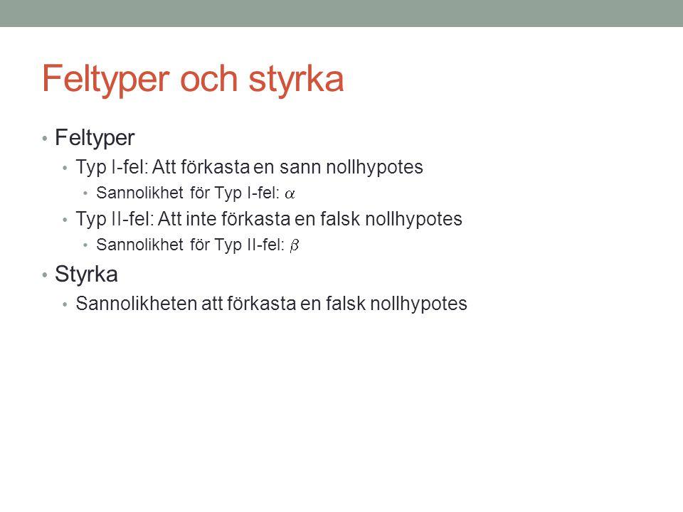 Feltyper och styrka • Feltyper • Typ I-fel: Att förkasta en sann nollhypotes • Sannolikhet för Typ I-fel:  • Typ II-fel: Att inte förkasta en falsk n