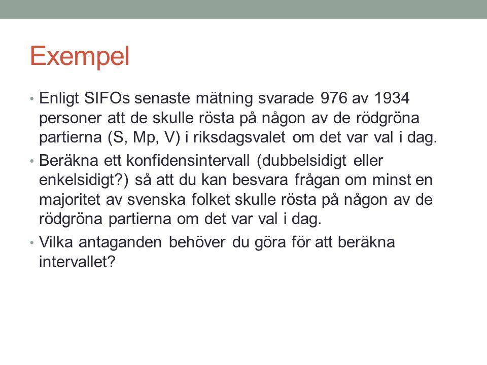 Exempel • Enligt SIFOs senaste mätning svarade 976 av 1934 personer att de skulle rösta på någon av de rödgröna partierna (S, Mp, V) i riksdagsvalet o