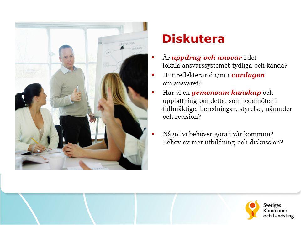 Diskutera  Är uppdrag och ansvar i det lokala ansvarssystemet tydliga och kända?  Hur reflekterar du/ni i vardagen om ansvaret?  Har vi en gemensam