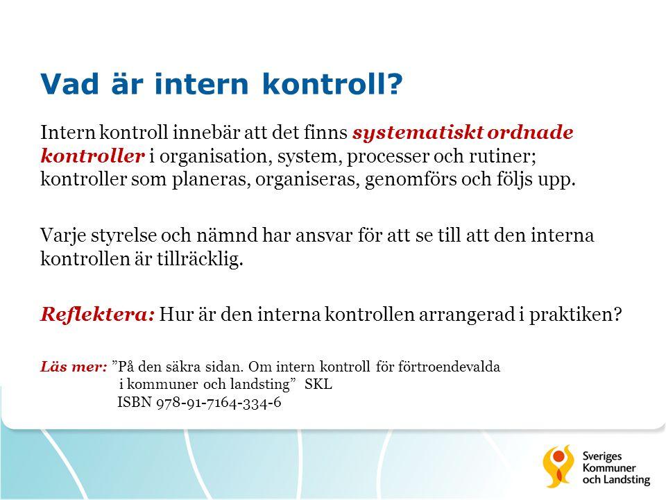 Vad är intern kontroll? Intern kontroll innebär att det finns systematiskt ordnade kontroller i organisation, system, processer och rutiner; kontrolle