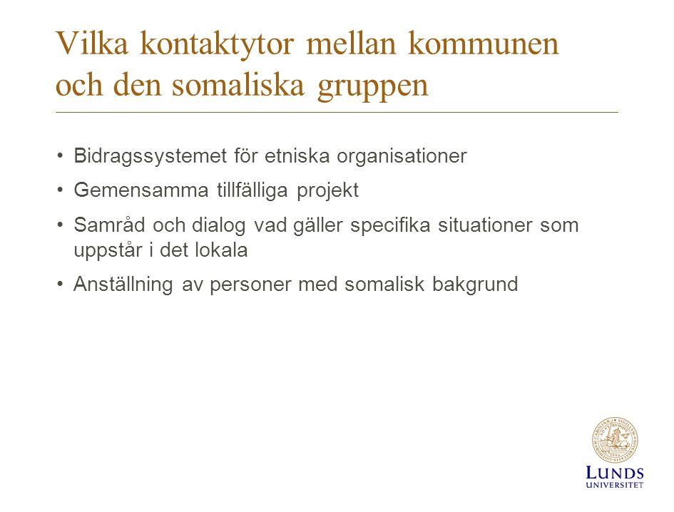 Vilka kontaktytor mellan kommunen och den somaliska gruppen •Bidragssystemet för etniska organisationer •Gemensamma tillfälliga projekt •Samråd och di