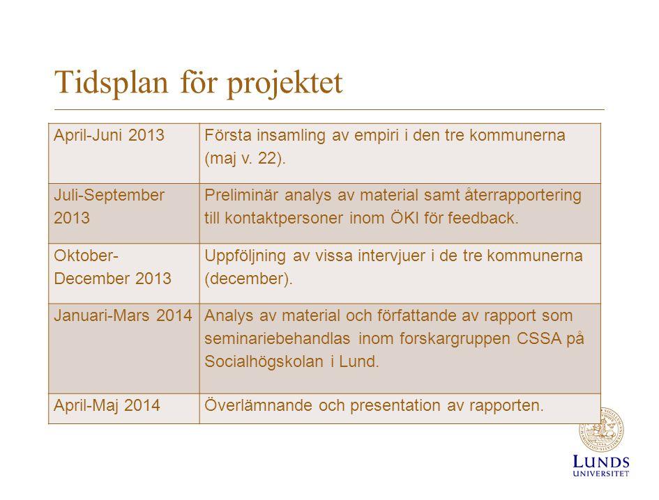 Tidsplan för projektet April-Juni 2013 Första insamling av empiri i den tre kommunerna (maj v. 22). Juli-September 2013 Preliminär analys av material