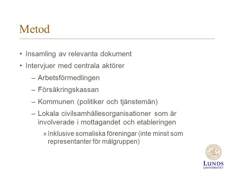 Metod •Insamling av relevanta dokument •Intervjuer med centrala aktörer –Arbetsförmedlingen –Försäkringskassan –Kommunen (politiker och tjänstemän) –L