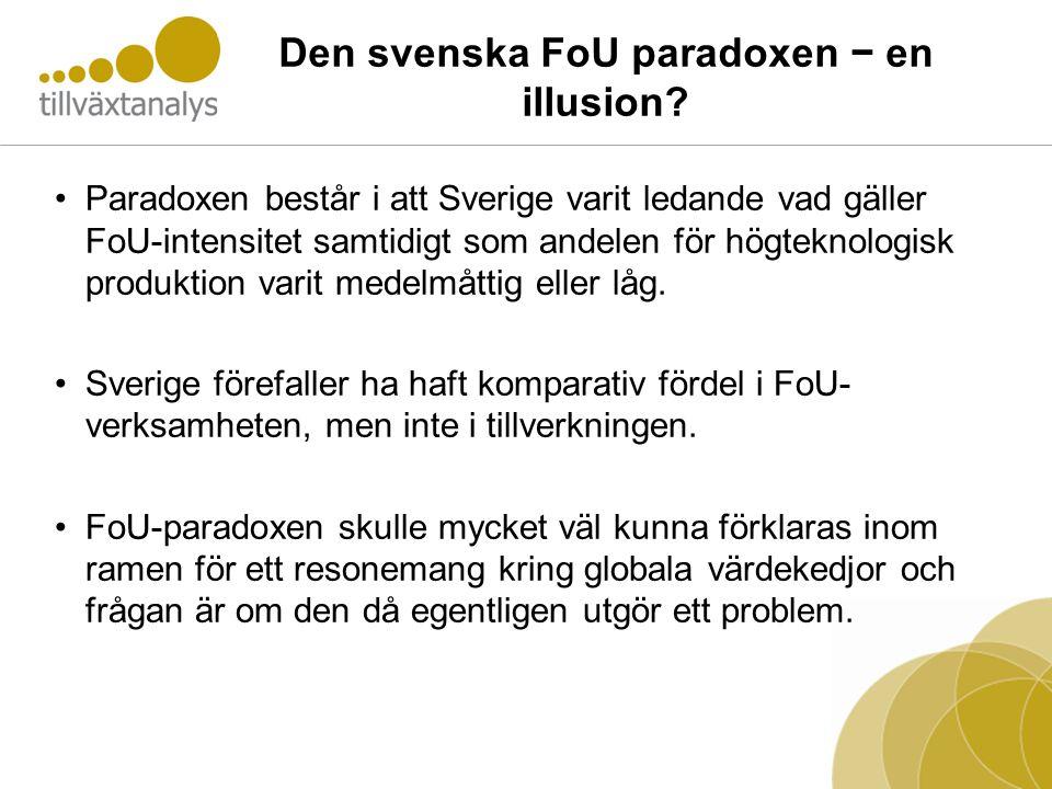 Den svenska FoU paradoxen − en illusion? •Paradoxen består i att Sverige varit ledande vad gäller FoU-intensitet samtidigt som andelen för högteknolog