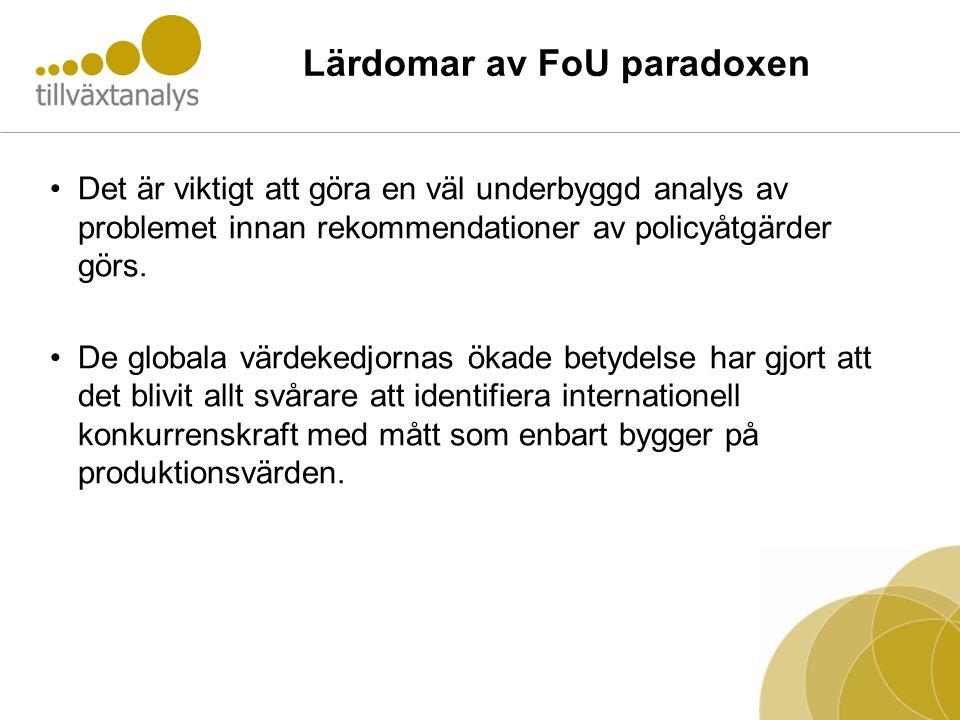 Lärdomar av FoU paradoxen •Det är viktigt att göra en väl underbyggd analys av problemet innan rekommendationer av policyåtgärder görs. •De globala vä
