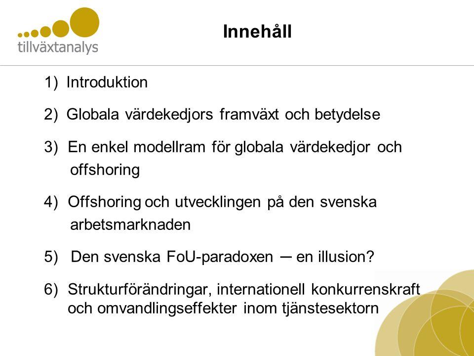 Innehåll 1) Introduktion 2) Globala värdekedjors framväxt och betydelse 3)En enkel modellram för globala värdekedjor och offshoring 4)Offshoring och utvecklingen på den svenska arbetsmarknaden 5) Den svenska FoU-paradoxen ─ en illusion.