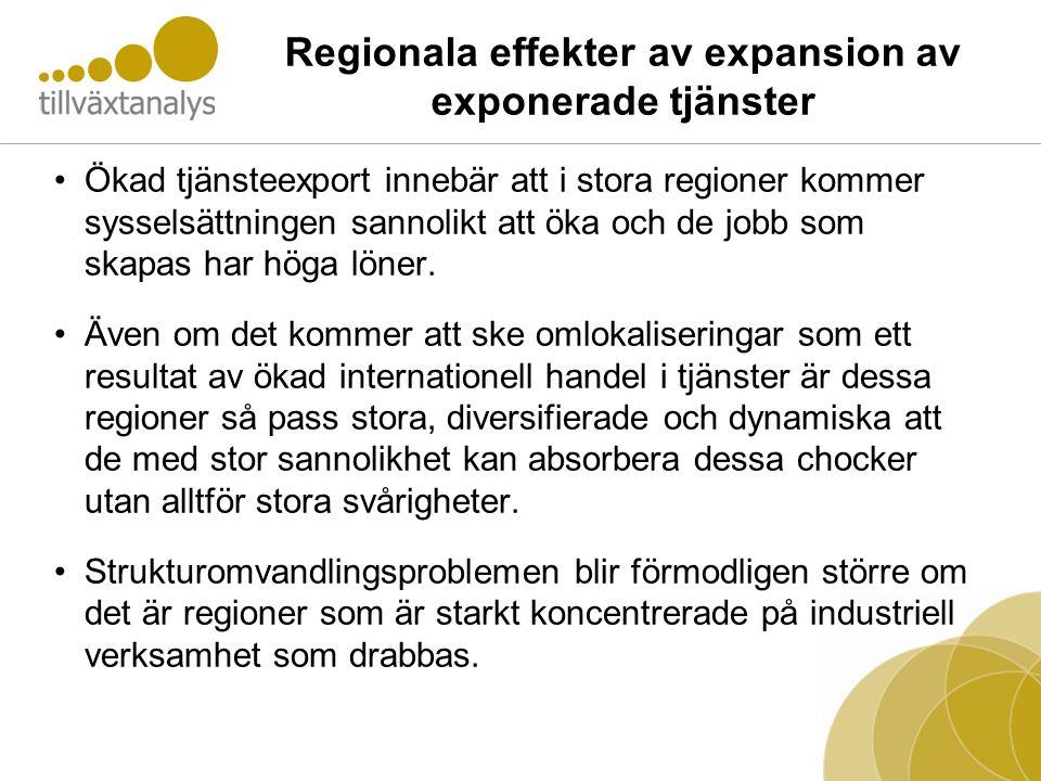 Regionala effekter av expansion av exponerade tjänster •Ökad tjänsteexport innebär att i stora regioner kommer sysselsättningen sannolikt att öka och
