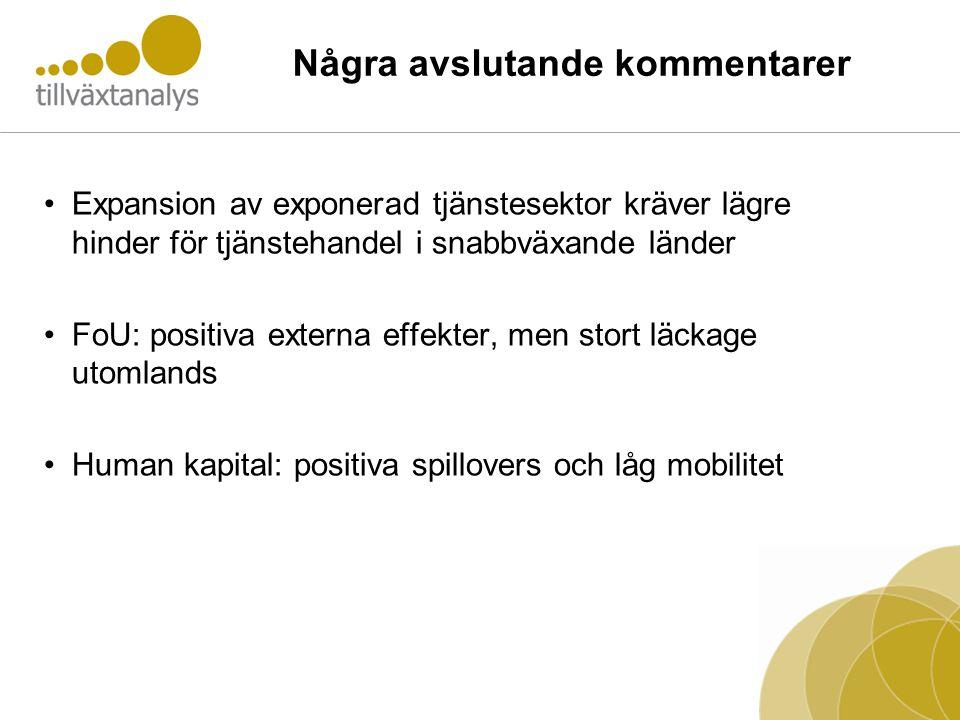 Några avslutande kommentarer •Expansion av exponerad tjänstesektor kräver lägre hinder för tjänstehandel i snabbväxande länder •FoU: positiva externa effekter, men stort läckage utomlands •Human kapital: positiva spillovers och låg mobilitet