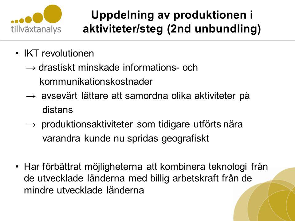 Uppdelning av produktionen i aktiviteter/steg (2nd unbundling) •IKT revolutionen → drastiskt minskade informations- och kommunikationskostnader → avse