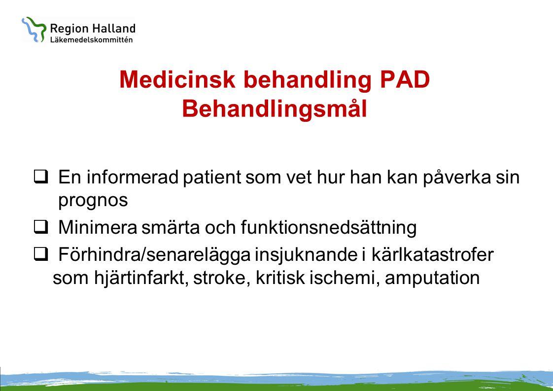 Medicinsk behandling PAD Behandlingsmål  En informerad patient som vet hur han kan påverka sin prognos  Minimera smärta och funktionsnedsättning  F