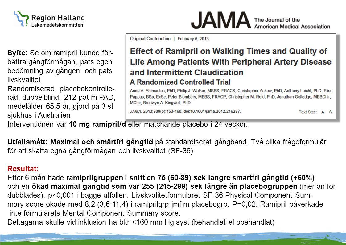 Syfte: Se om ramipril kunde för- bättra gångförmågan, pats egen bedömning av gången och pats livskvalitet. Randomiserad, placebokontrolle- rad, dubbel