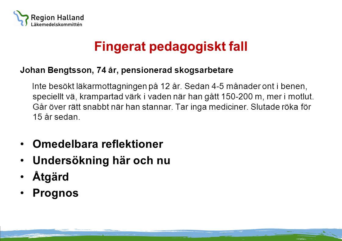 Fingerat pedagogiskt fall Johan Bengtsson, 74 år, pensionerad skogsarbetare Inte besökt läkarmottagningen på 12 år. Sedan 4-5 månader ont i benen, spe