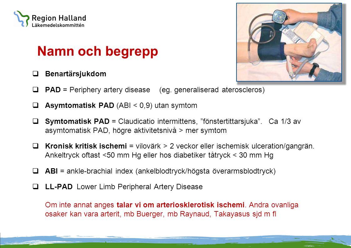 Namn och begrepp  Benartärsjukdom  PAD = Periphery artery disease (eg. generaliserad ateroscleros)  Asymtomatisk PAD (ABI < 0,9) utan symtom  Symt