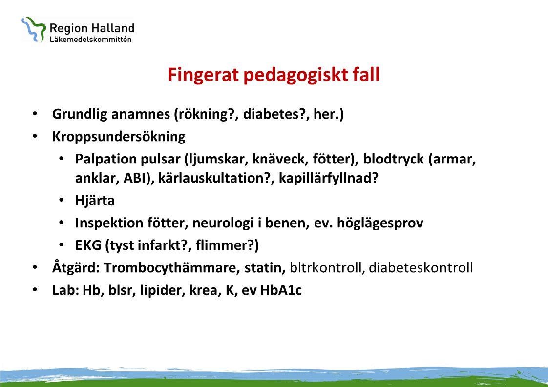 Fingerat pedagogiskt fall • Grundlig anamnes (rökning?, diabetes?, her.) • Kroppsundersökning • Palpation pulsar (ljumskar, knäveck, fötter), blodtryc
