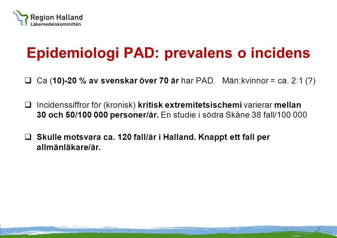 Epidemiologi PAD: prevalens o incidens  Ca (10)-20 % av svenskar över 70 år har PAD. Män:kvinnor = ca. 2:1 (?)  Incidenssiffror för (kronisk) kritis