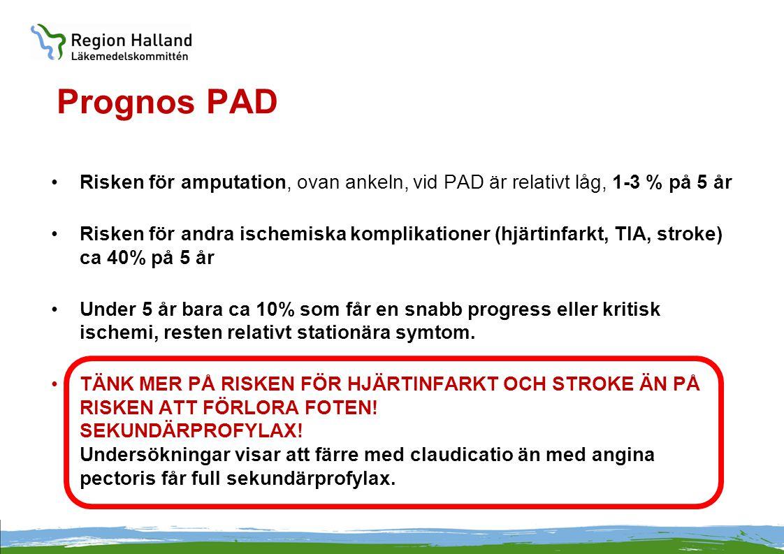 Prognos PAD •Risken för amputation, ovan ankeln, vid PAD är relativt låg, 1-3 % på 5 år •Risken för andra ischemiska komplikationer (hjärtinfarkt, TIA
