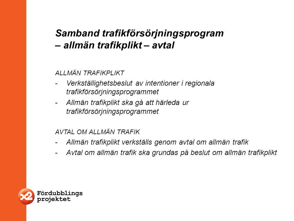 Samband trafikförsörjningsprogram – allmän trafikplikt – avtal ALLMÄN TRAFIKPLIKT -Verkställighetsbeslut av intentioner i regionala trafikförsörjnings