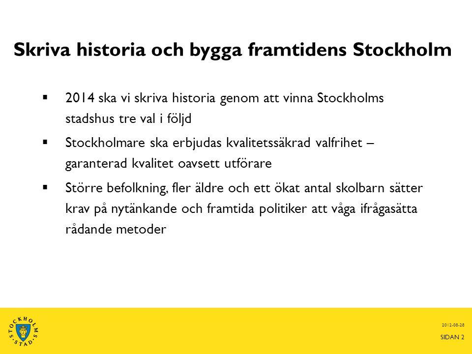 Skriva historia och bygga framtidens Stockholm  2014 ska vi skriva historia genom att vinna Stockholms stadshus tre val i följd  Stockholmare ska er