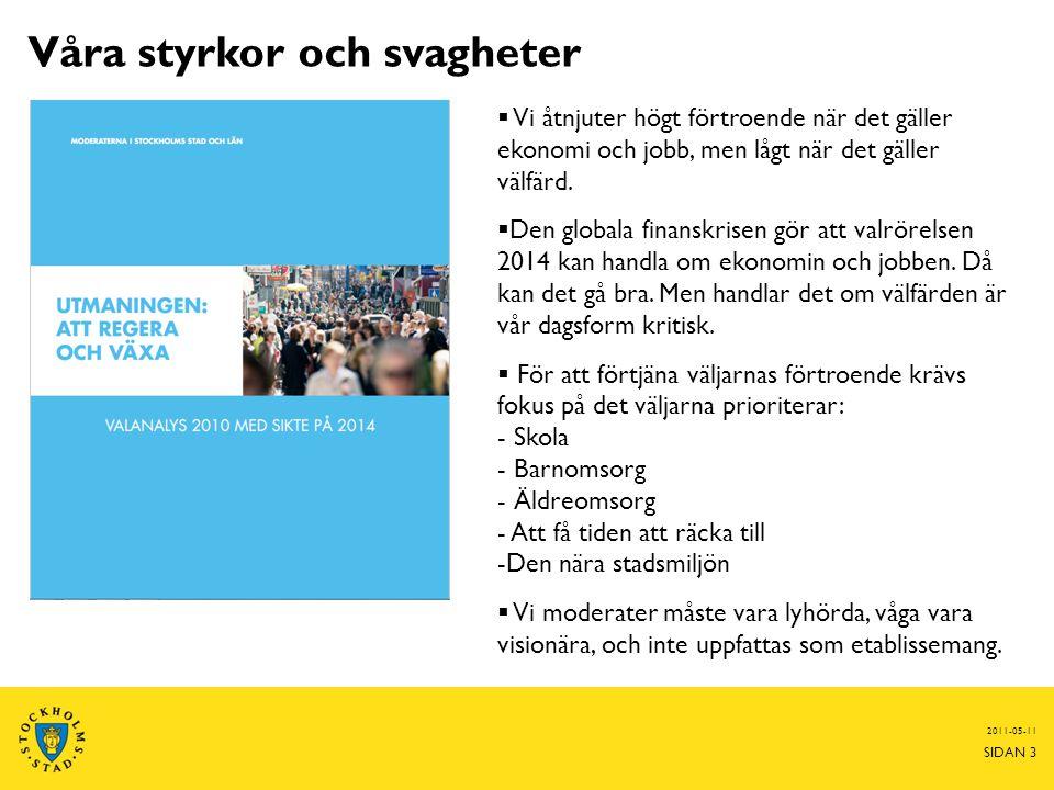 2011-05-11 SIDAN 3  Vi åtnjuter högt förtroende när det gäller ekonomi och jobb, men lågt när det gäller välfärd.  Den globala finanskrisen gör att