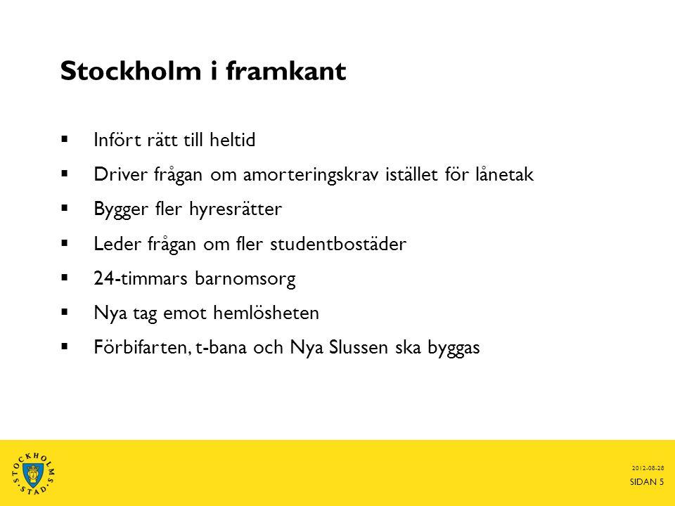 Stockholm i framkant 2012-08-28 SIDAN 5  Infört rätt till heltid  Driver frågan om amorteringskrav istället för lånetak  Bygger fler hyresrätter 