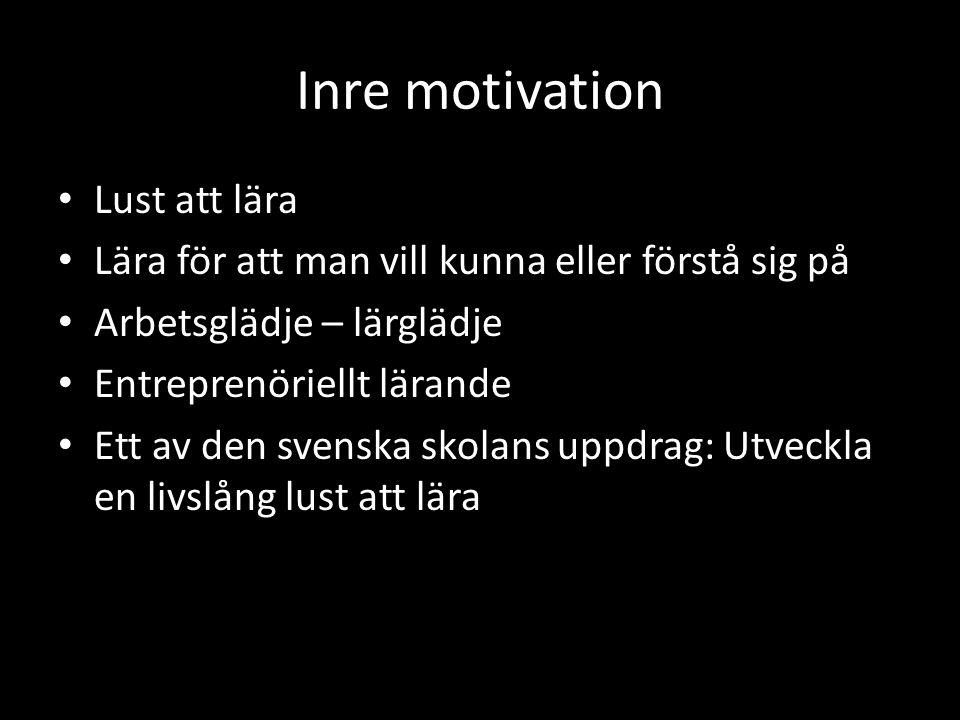 Inre motivation • Lust att lära • Lära för att man vill kunna eller förstå sig på • Arbetsglädje – lärglädje • Entreprenöriellt lärande • Ett av den svenska skolans uppdrag: Utveckla en livslång lust att lära