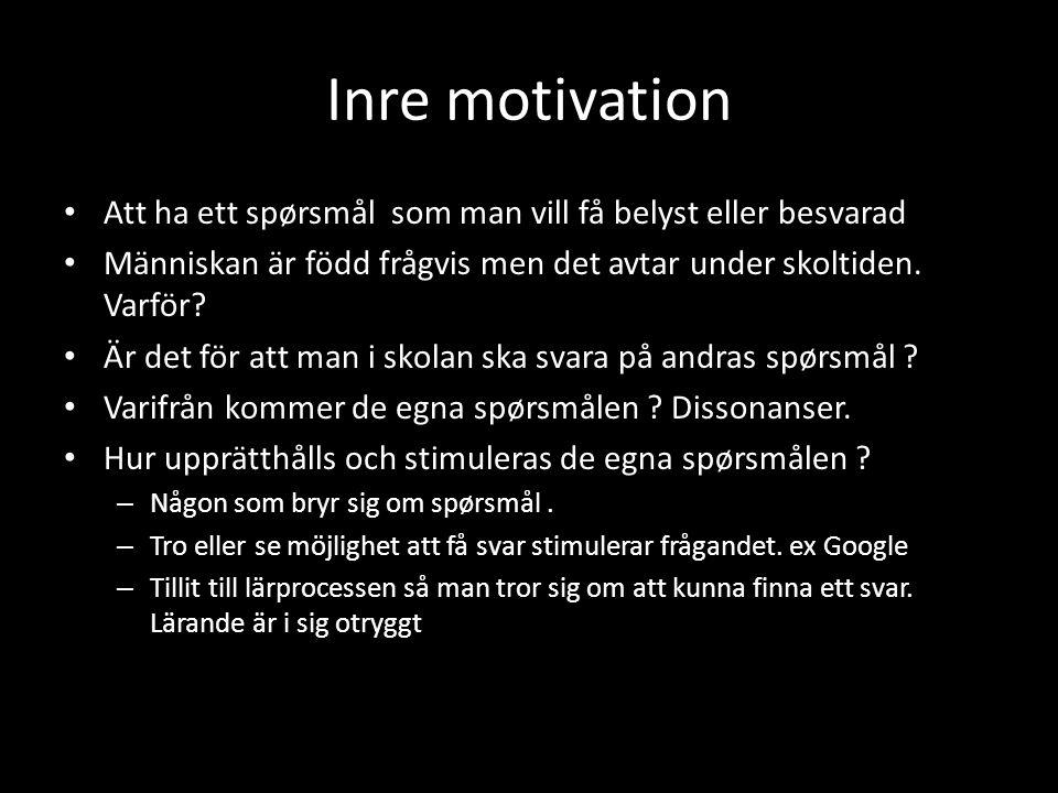 Inre motivation • Att ha ett spørsmål som man vill få belyst eller besvarad • Människan är född frågvis men det avtar under skoltiden. Varför? • Är de