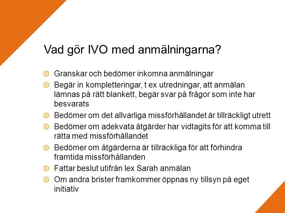 Vad gör IVO med anmälningarna.