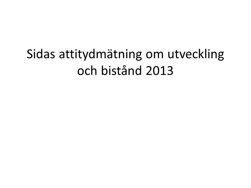 Sidas attitydmätning om utveckling och bistånd 2013