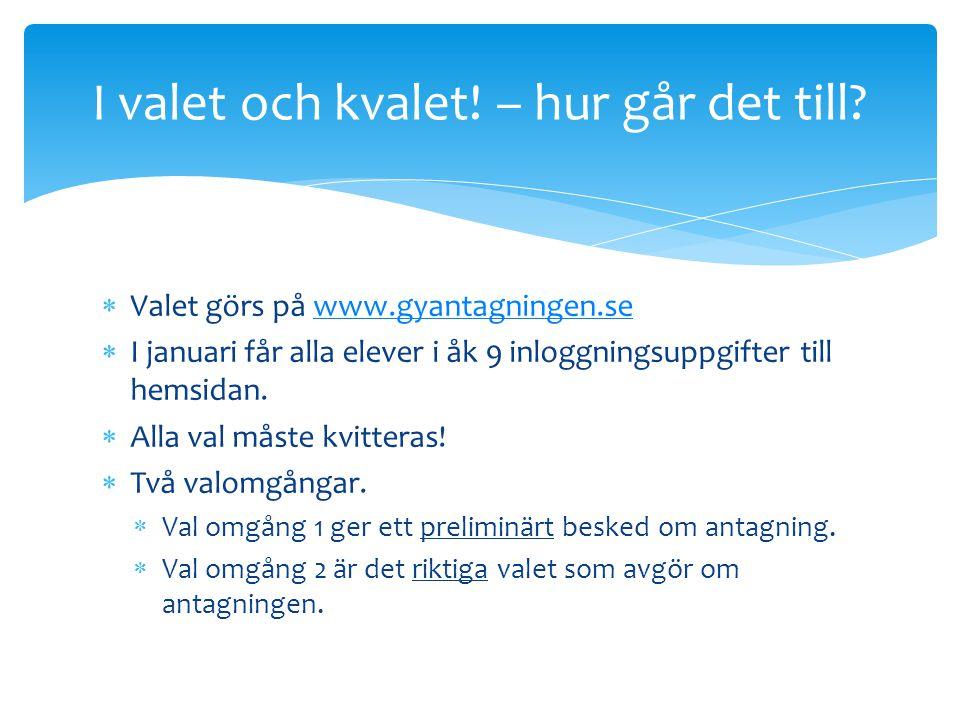  Valet görs på www.gyantagningen.sewww.gyantagningen.se  I januari får alla elever i åk 9 inloggningsuppgifter till hemsidan.  Alla val måste kvitt