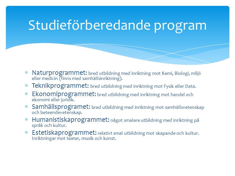  Behörighet. Natur- och teknikprogrammet: krävs minst godkänt i 12 ämnen.