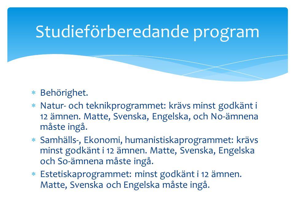  Behörighet.  Natur- och teknikprogrammet: krävs minst godkänt i 12 ämnen. Matte, Svenska, Engelska, och No-ämnena måste ingå.  Samhälls-, Ekonomi,