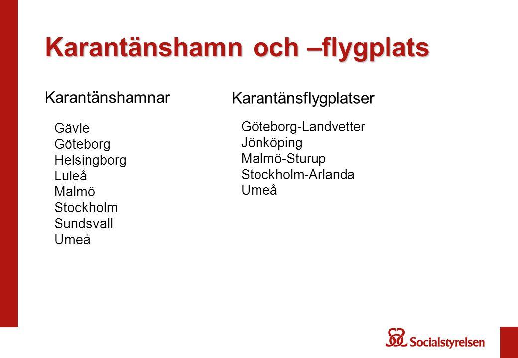 Karantänshamnar Gävle Göteborg Helsingborg Luleå Malmö Stockholm Sundsvall Umeå Karantänsflygplatser Göteborg-Landvetter Jönköping Malmö-Sturup Stockholm-Arlanda Umeå Karantänshamn och –flygplats