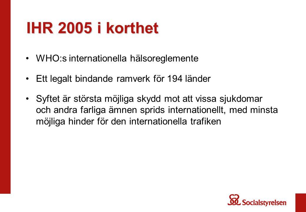 IHR 2005 i korthet •WHO:s internationella hälsoreglemente •Ett legalt bindande ramverk för 194 länder •Syftet är största möjliga skydd mot att vissa sjukdomar och andra farliga ämnen sprids internationellt, med minsta möjliga hinder för den internationella trafiken
