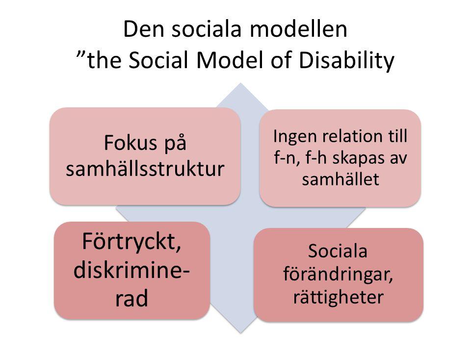 Den sociala modellen the Social Model of Disability Fokus på samhällsstruktur Ingen relation till f-n, f-h skapas av samhället Förtryckt, diskrimine- rad Sociala förändringar, rättigheter