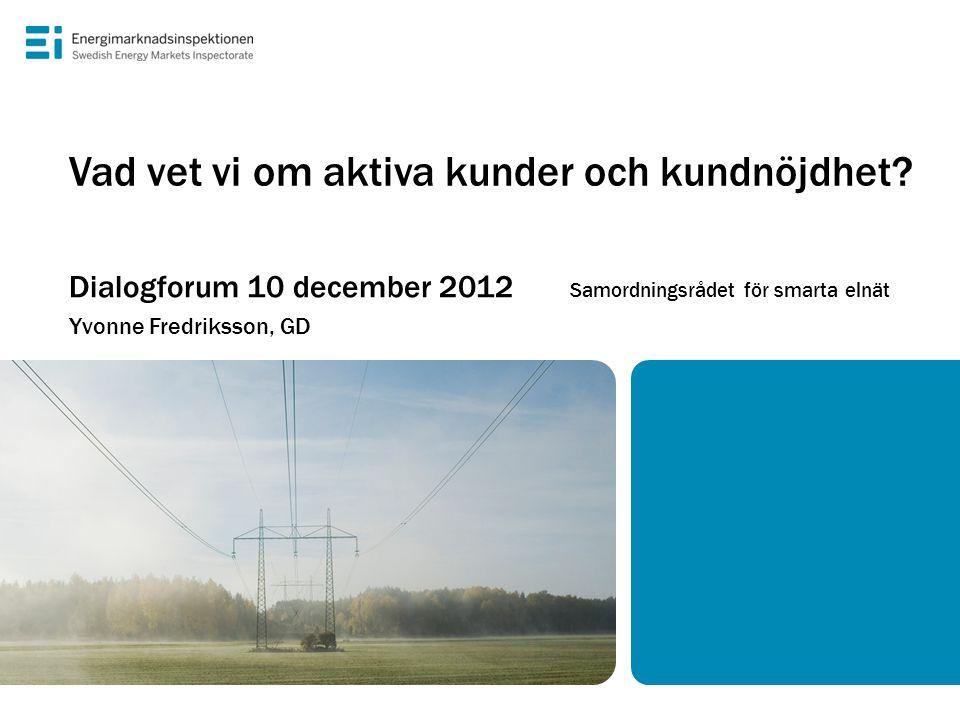Vad vet vi om aktiva kunder och kundnöjdhet? Dialogforum 10 december 2012 Samordningsrådet för smarta elnät Yvonne Fredriksson, GD