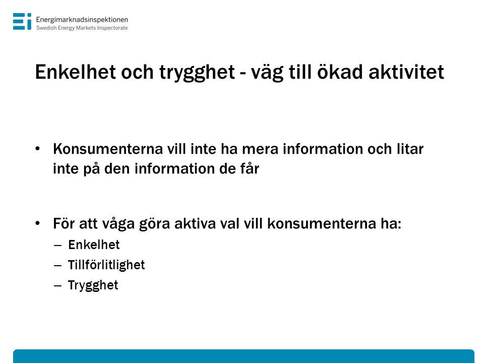 Enkelhet och trygghet - väg till ökad aktivitet • Konsumenterna vill inte ha mera information och litar inte på den information de får • För att våga