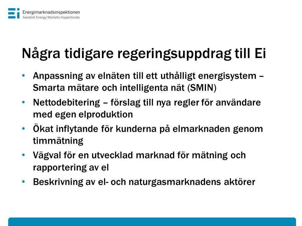 Några tidigare regeringsuppdrag till Ei • Anpassning av elnäten till ett uthålligt energisystem – Smarta mätare och intelligenta nät (SMIN) • Nettodeb