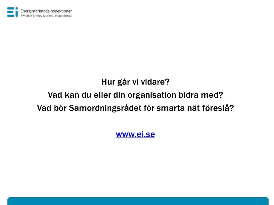 Hur går vi vidare? Vad kan du eller din organisation bidra med? Vad bör Samordningsrådet för smarta nät föreslå? www.ei.se